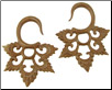 Sawo Wood Hanging Lacy Star Gauge Earrings (SKU: WSH9)