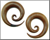 Large Gauge Sawo Wood Spiral Earrings (SKU: WWSH)