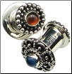 Jennie ordered Indonesian Silver Plugs set with Rust Orange Glass & Blue Glass