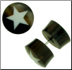 Horn Fake Gauge Plug Earrings, Bone Star Inlays