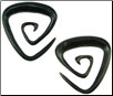 Large Gauge Horn Triangular Spiral Earrings (SKU: HHK8)