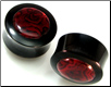 Horn Saddle Plugs, Red Paua Shell Inlays, 1/2 inch - 3/4 inch (SKU: HSRPS)