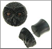 Ebony Wood Owl Fake Gauge Plug Earrings