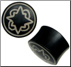 Large Gauge Ebony Wood Saddle Plugs, Geometric Stars (SKU: WPA-GS)