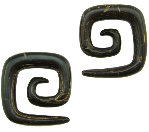 Large Gauge Coconut Shell Square Spiral Earrings