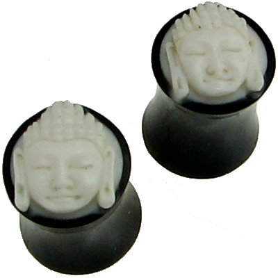 Large Gauge Horn Saddle Plugs Bone Buddha Face Inlays